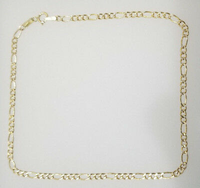 Real 10K Yellow Gold Anklet 2.5mm 10'' Figaro Link Chain Diamond Cut Women Ladie
