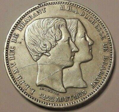 Belgique, Léopold Premier, Mariage 1853 argent 5 Francs 5 frank Belgïe Belgium