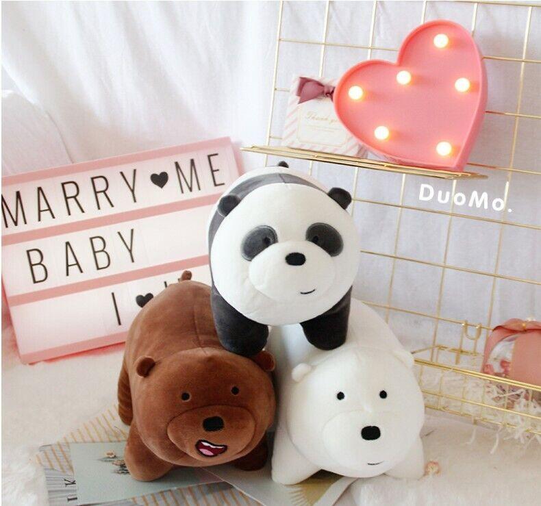 3pcs We Bare Bears Plush Stuffed Dolls Animal Toy Panda Bear Ice Bear Doll