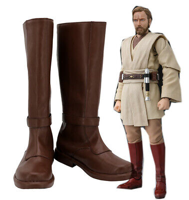 Star Wars Jedi Knight Obi Wan Kenobi Cosplay Costume Kostüme Schuhe Shoes boots (Star Wars Jedi Knight Kostüm)