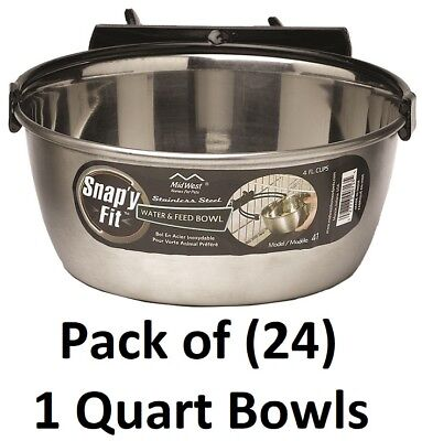 - 24 Snap'Y Fit # 41 1 Quart Stainless Steel Pet / Dog Bowls w Crate Bracket