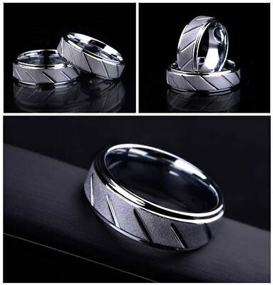 Men's: 18 Carat White Gold Plated 8mm Diamond Cut Frosted Polished Wedding (Mens 18 Carat White Gold Wedding Rings)