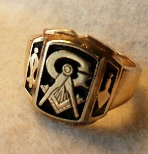 Vintage 10K Yellow Gold Masonic Ring Size 10 3/4