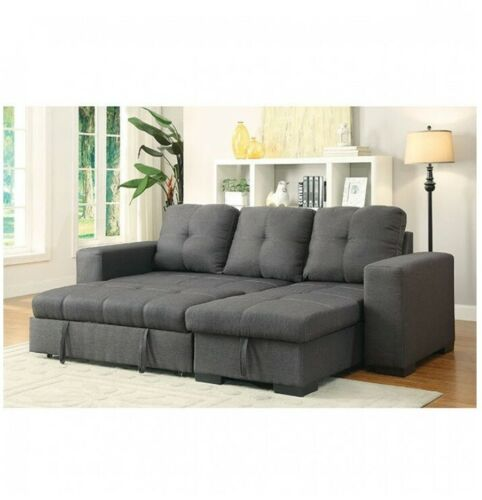 Reversible Storage Chaise Sofa Gray Contemporary Sectional Pull Out Bed Casual