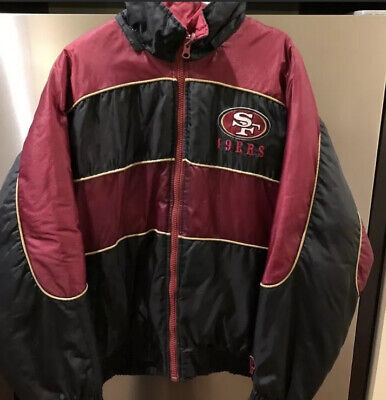 Vtg 90s San Francisco 49ers Forty-Niners NFL Pro Player Puff Full Zip Jacket  L