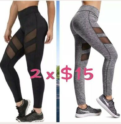 2 pants X $15 Women Sports Mesh YOGA Pants Workout Gym Fitness Run Leggings