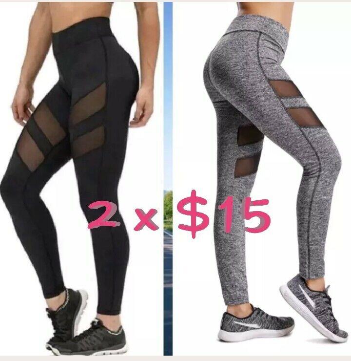 2 pants X $15 Women Sports Mesh YOGA Pants Workout Gym Fitne