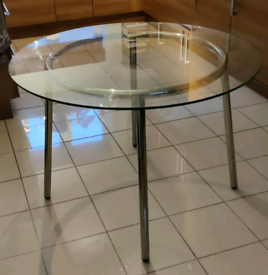 IKEA Salmi glass top table