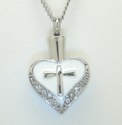 Cremation Urn Necklace, White Heart with Cross, CZ Accents || April Birthstone