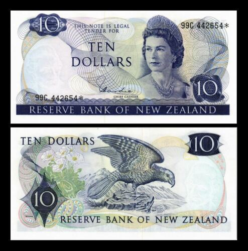 NEW ZEALAND 10 DOLLARS 1977 -1981  (REPLACEMENT) YEAR P 166d UNC