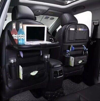 Car Back seat Organizer PU Leather Auto Folding Table Tray Holder Pocket Storage ()