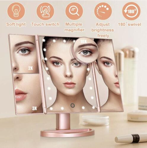 folding led light mirror make up cosmetic