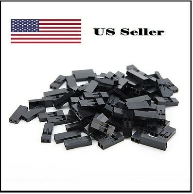 100pcs 2.54mm 2p Pitch Dupont Jumper Wire Cable Housing Female Pin Connectors