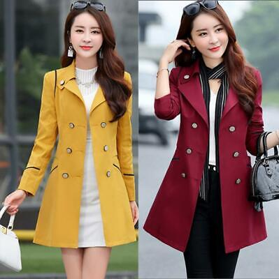 Women Spring Double-Breasted Lapel Long Trench Coat Jacket Outwear Breasted Polyester Women Coat