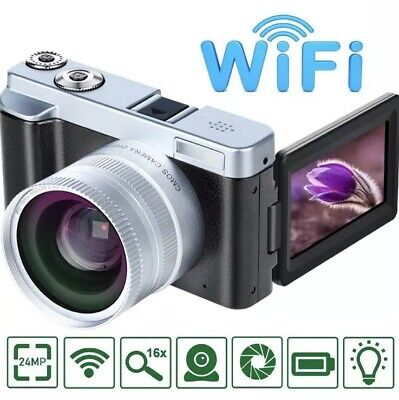 Vlogging Digital Camera VideoSky FHD 1080P 24MP 16X Digital Zoom WiFi IPS Flip