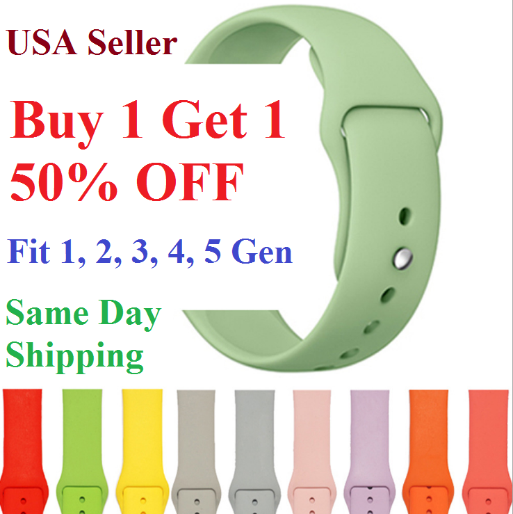 Silicone Strap Band for Apple Watch Sports Series 5/4/3/2/1 38mm 40mm 42mm 44mm