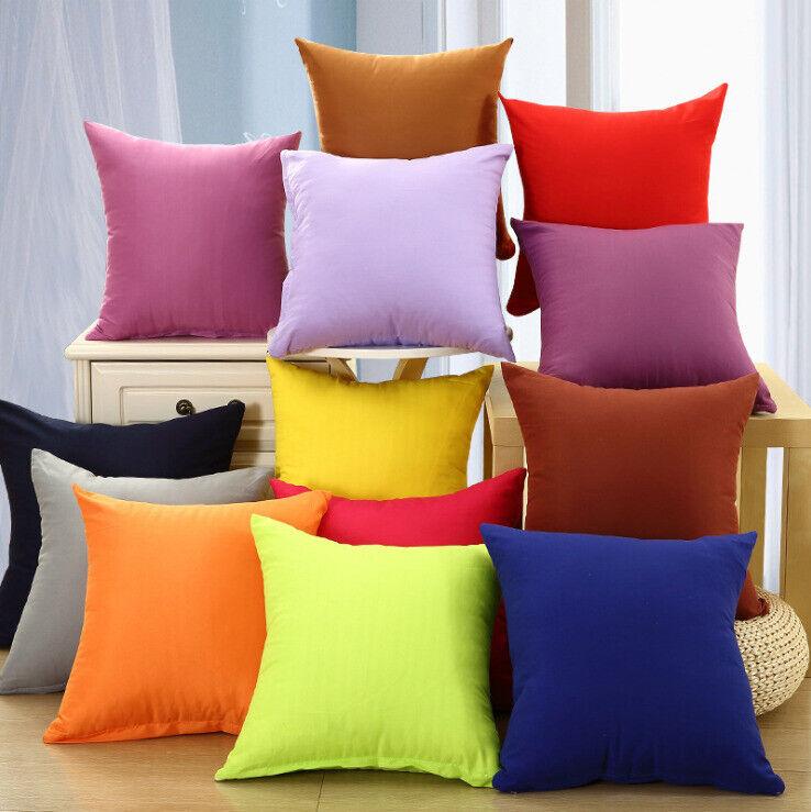 Candy Color Cotton Throw Pillow Case Home Sofa Car Cushion D