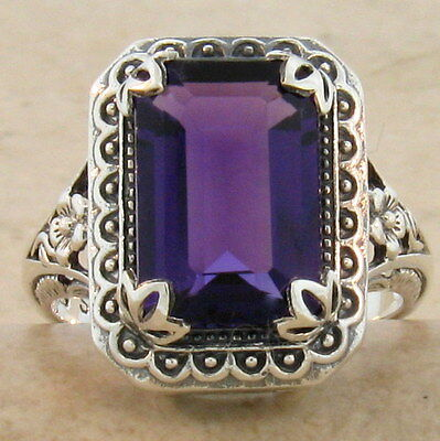 ANTIQUE STYLE LAB AMETHYST 925 STERLING SILVER RING SIZE 6.75,              #607
