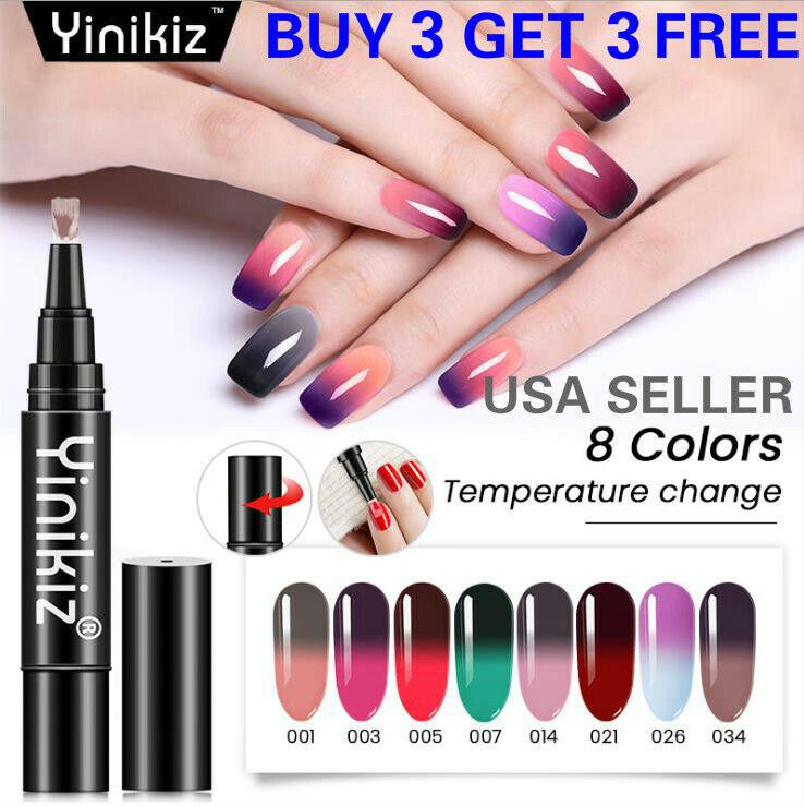 8 Colors One Step Temperature Change Nail Gel Polish Pen Man