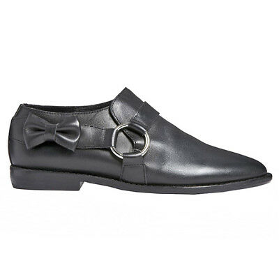 F-Troupe and Son London • DY405 Black Leather Bow Ring Shoe Loafer 38 (37) • NEW for sale  Minneapolis