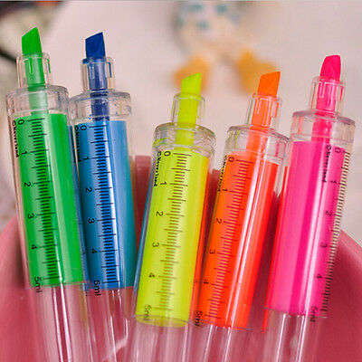 Fluorescent Needle Syringe Highlighter Pen Writer Office Student Stationery 1pcs