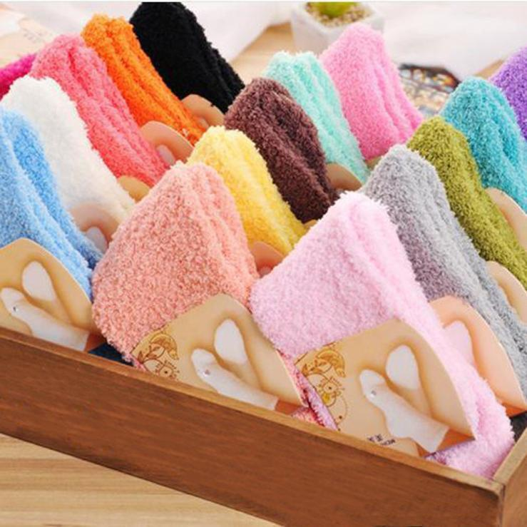 Home Women Girls Soft Bed Floor Socks Fluffy Warm Winter Pure Color B