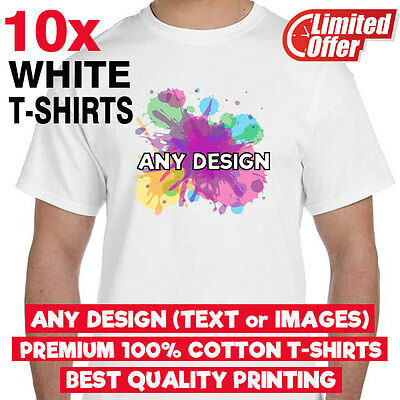Lot of 10x Personalised Custom printed WHITE T-shirts - BEST QUALITY