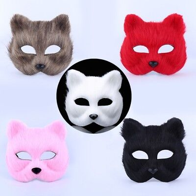 Half White Mask (Masquerade Half Face Mask Halloween White Fox Animal Masks Men And Women)