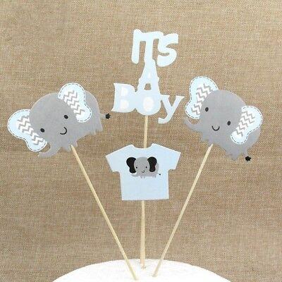 It's A Boy Cake Topper Elephant Cake Flag Kid Birthday Party Baking Decor GP3