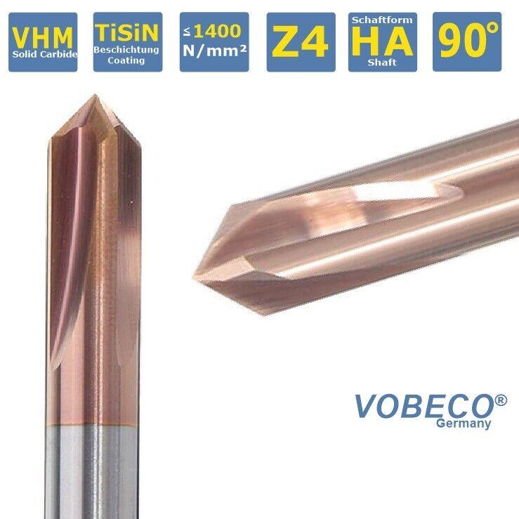 VOBECO VHM Fasenfräser Entgrater  90°, Ø3-12mm, Z4, HA-Schaft TiSIN Beschichtung