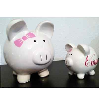 Personalized Ceramic Piggy Bank - LARGE or SMALL - cute, gift, holiday, boy girl - Large Ceramic Piggy Bank