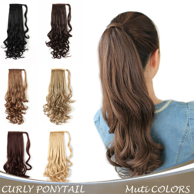 Onedor 24 Inch Curly Long Wrap Around Ponytail Hair Extension Pre