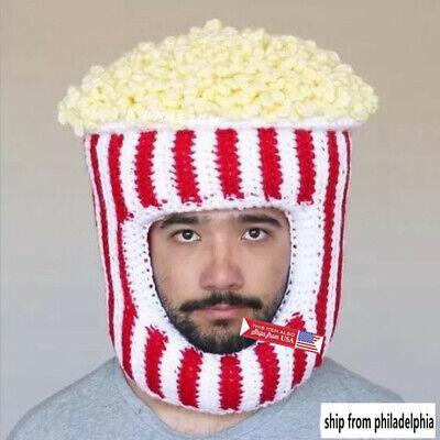 Men Knitting Novelty Funny popcorn Hat knit Xmas Party Cosplay Hat - Xmas Hats Novelty