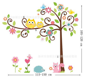 Large Owl Tree Art Decal Removable Vinyl Stickers kids bedroom Nursery Decor