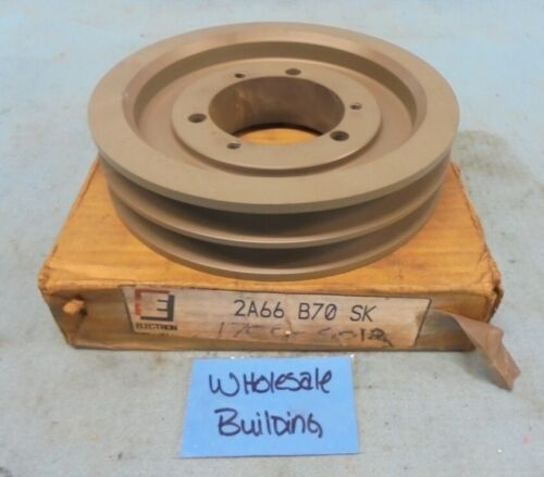 "ELECTRON 2A66B70SK 2-GROOVE V-BELT PULLEY SHEAVE, QD BUSHING BORE - SK, 7.35"" OD"