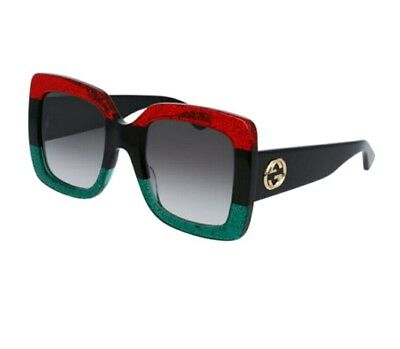 New Authentic GUCCI Glittered Gradient Oversized Square Sunglasses, Red/Blk/Grn (Red Sunglasses)