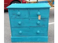 Painted Shabby-Chic Victorian Pine Chest Of Two Over Two Drawers