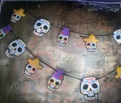 Mexican Candy Skull Halloween Banner Party Decoration Garland Bunting Decor Fun