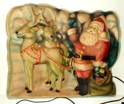 Vintage 1940`s Plastic Santa and Reindeers Wall/Window Lighted Display Works