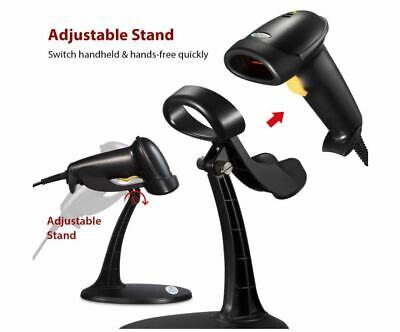 Handheld Barcode Scanner Esky Wired Bar Code Reader With Adjustable Stand