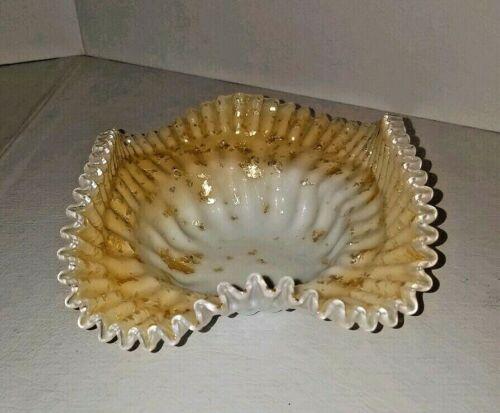 """7"""" Antique Bohemian Victorian Harrach Cased Peach Gold Spangle Art Glass Bowl"""