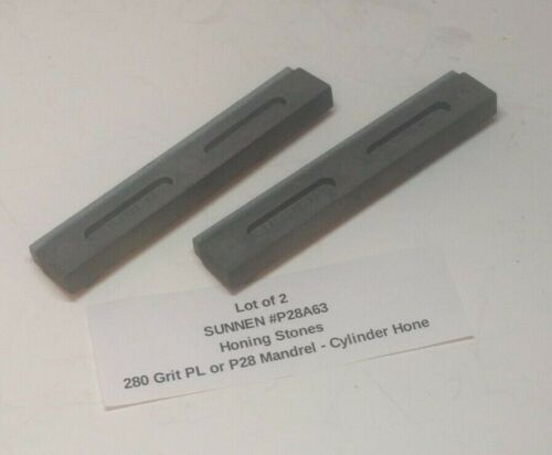 (Qty 2) SUNNEN P28A63 Honing Stone - 280 Grit PL or P28 Mandrel - Cylinder Hone