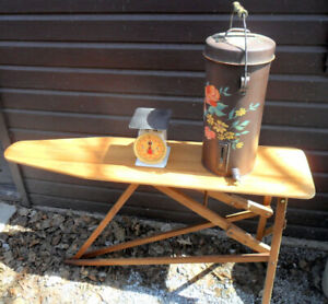 WOOD IRONING BOARD,1/2 ROUND TABLE, OLD SCALE, MILK SEPARATOR