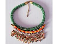 ZARA cascade seed beads choker ethnic look necklace
