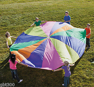 12 Ft Kids Play Parachute w/ Handles Outdoor Game Toy w/ Carry Case