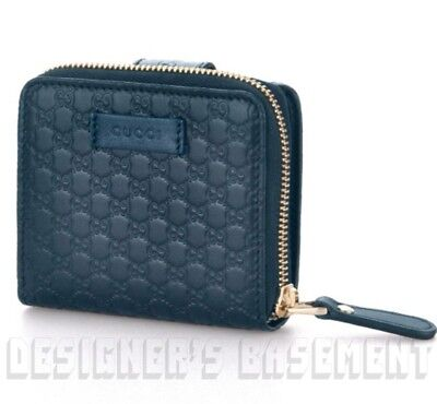 GUCCI blue Leather Micro GUCCISSIMA French zip around pouch wallet NIB Authentic