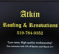 Roofing & Renovations.  Jobs big and small.  17yrs in the biz!