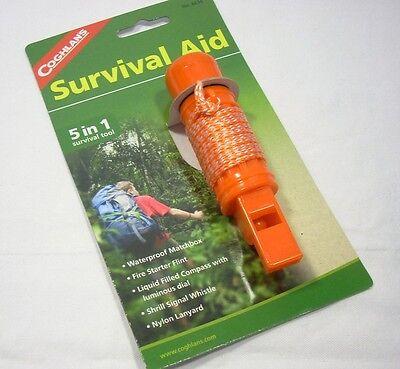 Coghlans 5-N-1 Survival Aid Flint Whistle Compass Camping Hiking Scouts Camp (Coghlans Camping Whistle)