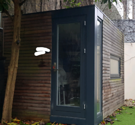 SOLD Outdoor Office Pod with electricity,speakers and heating points.