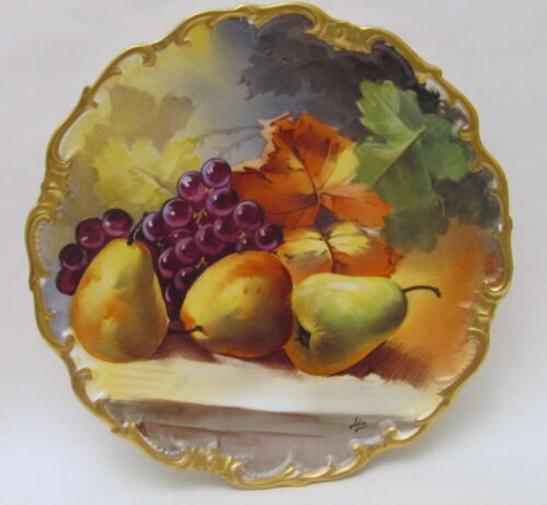 "Antique Hand Painted 13.5"" LRL Limoges Grapes Charger Plate Signed Early 1900s"